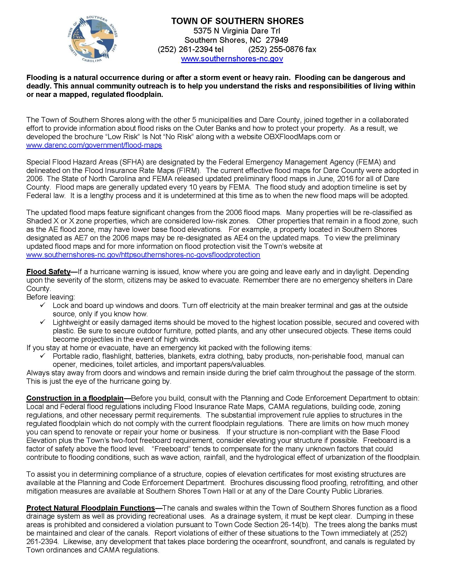 Flood Protection Information Town Of Southern Shores Nc